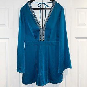 Bebe Silk Turquoise Silk V Neck Romper